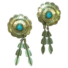 Native American Indian Sterling Silver Hand Fashioned Turquoise Concha Design Pierced Earrings