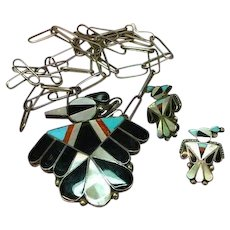 Magnificent Native American Indian Zuni Signed Herbert & Esther Cellicion Sterling Silver Pendant Brooch Pin Inlay Thunderbird Necklace Chain Pierced Earrings