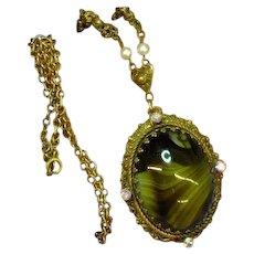 West Germany Signed Designer Green Art Glass Rhinestone Necklace