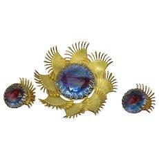 Art Glass Givre Rhinestone Glorious Large Brooch and Earrings Set Demi Parure