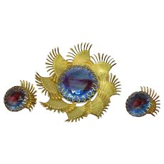 Art Glass Givre Rhinestone Glorious Large Brooch Pin Earrings Set Demi Parure