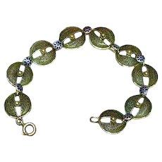 Filigree  Sterling Silver with Blue Enamel Flowers Bracelet