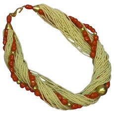 Fabulous Vintage Coral Art Glass Cream Seed Bead Torsade One of a Kind Necklace