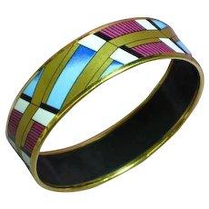Vintage Signed Austria Michaela Frey 24kyg Plated Enamel Bold Bangle Bracelet