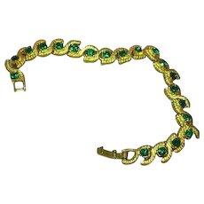 Rhinestones Gold-tone Kelly Green Designer NOS Bracelet