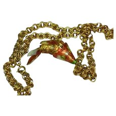 Chinese Cloisonne Fancy Large Chinese Export Enameled Gold Tone Articulated Fish Necklace