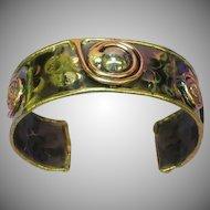 Mixed Metal Brass Copper Large Unisex  Artisan Modernist Cuff Bracelet