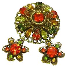 Gorgeous Green Orange Yellow Rhinestones Layered Fall Brooch Pin Clip Earrings Set Demi Parure
