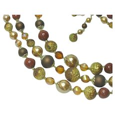 Golden Amber Pearlized Sugar Beads Japan Scrumptious Fall Necklace