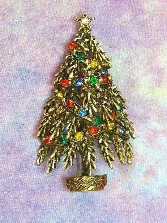 Art Signed Frosted Christmas Tree Rhinestones Pin Brooch : Vintage ...