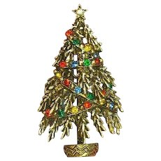 Art Signed Frosted Christmas Tree Rhinestones Pin Brooch