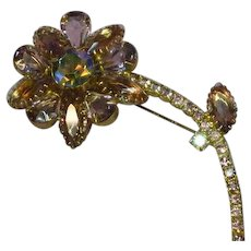 Juliana D&E Sumptuous Vintage Wisteria Colors AB Rhinestones  Flower Brooch Pin