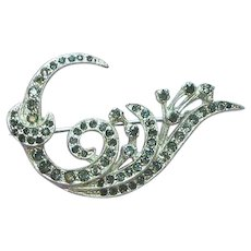 Rhinestones Swirl Black Diamonds  Heavy Rhodium Plate Brooch Pin