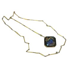 Morpho Butterfly Wing Pendant 9 ct Yellow Gold Link Chain Necklace