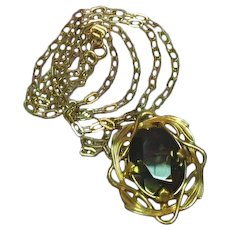 Winard Signed Gold Filled Smoky Quartz Brooch Pendant 1/20 12 K GF Chain Necklace