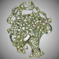 Rhinestones Basket of Flowers Art Deco Heavy Rhodium Plate Brooch Pin