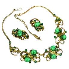 Art Glass Beads Green Rhinestones Heavy Gold Plate Necklace Clip Earrings Set Demi Parure.