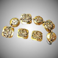 Wonderful Copper Bracelet Clip Earrings Set Demi Parure