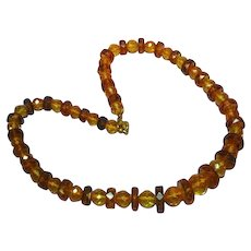 Poland Genuine Baltic Amber Faceted Beads Unique Estate Necklace