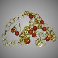 Coral Red Beads Gold Chain Necklace Pierced Earrings Set Demi Parure