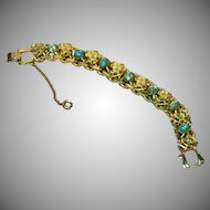 De Nicola Signed Faux Turquoise and Heavy Gold Plate Gorgeous Bracelet
