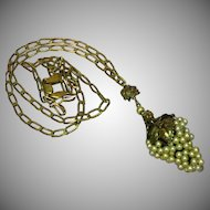 Art Nouveau Brass Wired Pearls Grape Cluster Floral Filigree Large Pendant Necklace