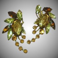 Judy Lee Signed Reverse Carved Glass Specialty Rhinestone Earrings