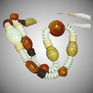 Coral Apple Rare Wood MOP Shell Glass Ethnic Tropical Necklace