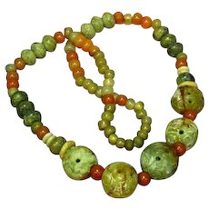 Jade Pierced and Carved Chinese Large Bead  Incredible Multi Color Mix Size Bold Necklace