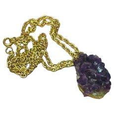 Amethyst Genuine Gemstones Raw Crystals Pendant Necklace
