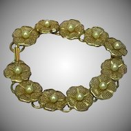 Pearls Simulated Gold Tone Mesh Floral Bracelet