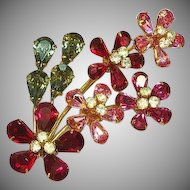 Austrian Signed Shimmering Rhinestone Scrumptious Flower Brooch Pin.