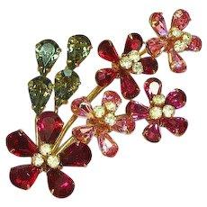 Austrian Signed Shimmering Rhinestone Scrumptious Flower Brooch Pin.