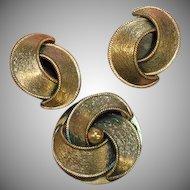 Copper Burnished Brooch Pin Clip Earrings Set Demi Parure