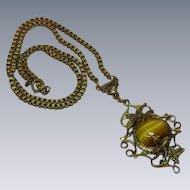Czech Necklace Brass Tiger Eye Cabochon Floral Filigree Necklace