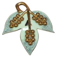 Copper Genuine Beautiful Enameled Leaf Pin Brooch