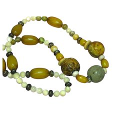 Jade Pierced and Carved Chinese Large Bead Incredible Multi Color Mix Amber Necklace