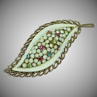 Kramer Signed Milk Glass Rhinestones Enamel Brooch Pin.
