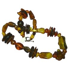 Amber Natural Baltic Butterscotch Egg Yolk  Mixed Magnificent Massive Amber  Beaded Necklace