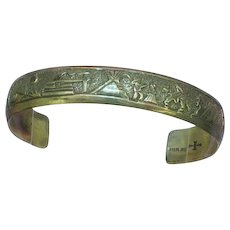 Traditional Native American Indian Storyteller Sterling Silver Cuff Bracelet