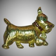 Napier Scotty Dog Scottish Terrier Figural Rhinestones Pin Brooch