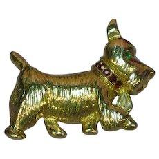 Napier Scotty Dog Scottish Terrier Figural Rhinestones Pin Brooch