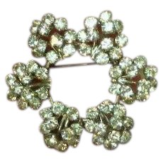Austrian Clear Rhinestones Heavy Rhodium Plate Circle Pin Brooch