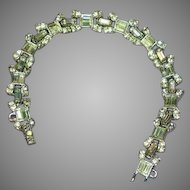 Art Deco Stunning Diamond Look Rhinestones Heavy Rhodium Plate Bracelet