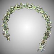 Art Deco Stunning Diamond Look Rhinestones Heavy Rhodium Plate Bracelet.