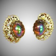 Peacock Eye Art Glass  Fabulous Filigree Rhodium Plate Clip Earrings