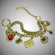 Jeweled Art Glass Cabochon Charm Bracelet Collectible Charms