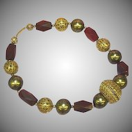 Horn Carved Big Filigree Beads Ethnic Boho Tribal Enchanting Necklace