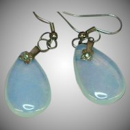 Opalescent Opalite Opaline Glass Dangle Sterling Silver Pierced Earrings