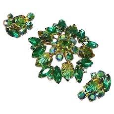 Rhinestones Green Molded Givre Glass Leaves Brooch Pin Earrings Demi Parure